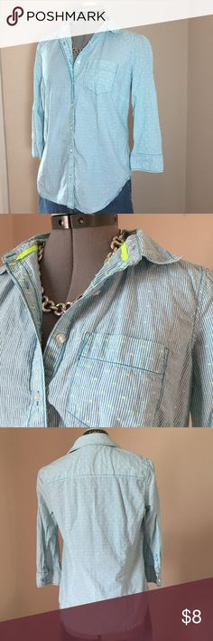 "🆕Listing: jcp Bright Blue Pinstripe Top jcp Bright Blue Pinstripe Top with Fluorescent Yellow Dots. Size M measures: 15"" across shoulders, 19"" across chest, 25"" long, 18"" sleeve. 95% cotton, 5% poly.  319/25/032517 jcpenney Tops Button Down Shirts"