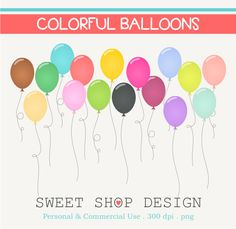Balloons Clip Art, Party Clip Art, Birthday Clip Art, Royalty Free Clip Art, Instant Download by SweetShopDesign, $3.00