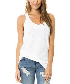 Look at this Venley by Youth Monument White Oversize Racerback Tank on #zulily today!