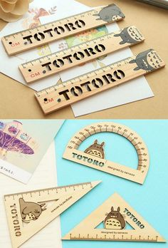 New Totoro Stationery Set Right Angle Ruler Protractor Wooden School UK