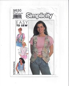 Simplicity 9630 Pattern for Misses' Lined Vests, Size Sm. to X Large, From 1990, FACTORY FOLDED, UNCUT, Vintage Pattern, Home Sewing Pattern by VictorianWardrobe on Etsy