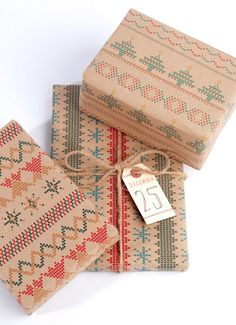 Christmas Knit Collection printed wrapping paper via Etsy seller NormansPrintery.