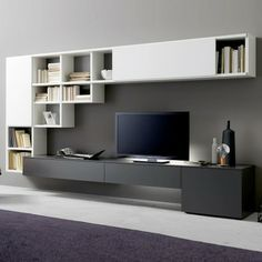 white and walnut 3 unit tv wall storage and display system