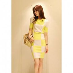 Women's Slim Fit Short Sleeve T-Shirt + Skirt Checked Twinset, YELLOW, ONE SIZE in Dresses 2013 | DressLily.com