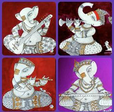 Ganesha Drawing, Lord Ganesha Paintings, Ganesha Art, Jai Ganesh, Black Canvas Paintings, Indian Art Paintings, Kalamkari Painting, Madhubani Painting, Mural Painting