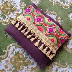 Brown Ethnic Clutch, Brown Jute Handmade Handbag, Colourful Silk Ribbon, Tassel…