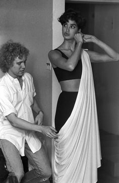 Michael Kors and Janice Dickinson for a Women's Wear Daily shoot in 1982.