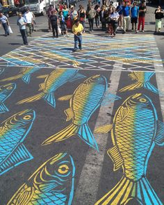 Santiago, Chile An artwork by Roadsworth in 2013 Photograph: Roadsworth