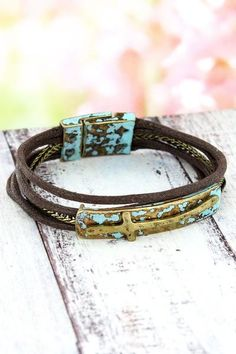 This pretty cross bracelet gives you a rustic chic look for your arm! Cowgirl Jewelry, Religious Jewelry, Rustic Chic, New Fashion, Arm, Fashion Jewelry, Bracelets, Pretty, Leather