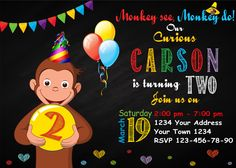 Curious George Invitation. Curious George. Curious George Birthday Party Invitation. Monkey Invitation. Curious Invitation. Any age. by DigitalSentiments on Etsy https://www.etsy.com/listing/264321014/curious-george-invitation-curious-george