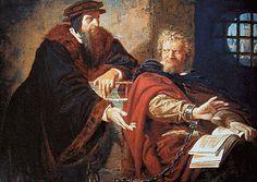Juan Calvino y Miguel Servet. Theodor Pixis. Siglo XIX.