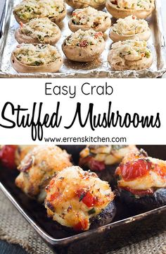 This is the best Easy Crab Stuffed Mushrooms recipe! Its made with crabmeat and topped with Parmesan cheese, making it a seafood favorite that you can make at home in just 30 minutes. Crab Recipes, Gourmet Recipes, Cooking Recipes, Healthy Recipes, Burger Recipes, Recipies, Seafood Appetizers, Seafood Dishes, Appetizer Recipes