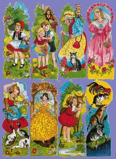 SHEET OF 8 EAS 3035 CHILDHOOD: Stories, fairytales.These are from Germany. Vintage Cards, Vintage Paper, Vintage Postcards, Paper Art, Paper Crafts, Christmas Decals, Decoupage, Die Cut, Scrapbook Supplies