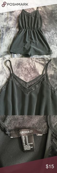 Silk Romper Silk/sheer material, about fingertip length, doesn't shrink in the wash, has lace around neckline, worn a handful of times. Forever 21 Other