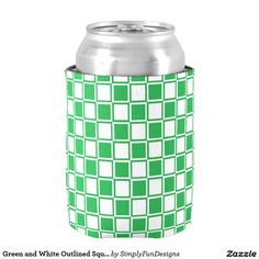 Green and White Outlined Squares Can Cooler