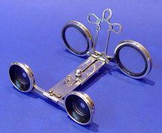 Victorian silver folding opera glasses