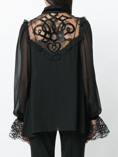 Elie Saab embroidered lace-insert georgette blouse