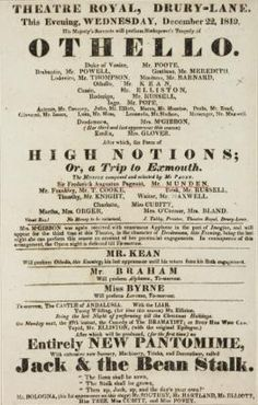 Playbill for Drury Lane. The theatre burned down several times, but still exists.