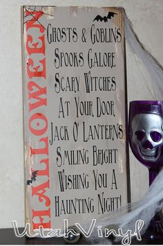 spooky primitive halloween sign with poem