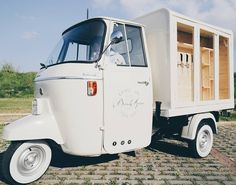 The unique italian vintage van, converted into an elegant Mobile Bar for weddings, festival and special events. Bar hire, vintage, ape Piaggio,wedding stationery.