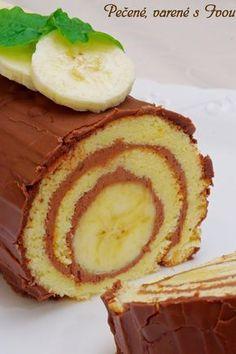 Takúto úžasnú roládu ste ešte nemali. Je proste super. Suroviny 8 vajec 6 PL práškového cukru 5 PL polohrubej múky 1 bal. prášku do pečiva 4 PL kryštálového cukru 4-6 PL mletých orechov 1,5 PL kakaa 200 g masla alebo Hery 2 väčšie banány Čokoládová poleva 100 g čokolády na varenie 50 g Cera Rozpustiť nad parou a nechať vychladnúť. No Salt Recipes, Sweet Recipes, Cooking Recipes, Cake Roll Recipes, Dessert Recipes, Czech Recipes, Sweet Desserts, Creative Food, Food Inspiration