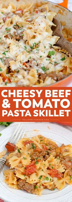 One Pan Cheesy Beef & Tomato Pasta This Cheesy Beef & Tomato Pasta Skillet is sure to become your new favorite meal. All cooked in one pan, this easy weeknight dinner comes together in less than 30 minutes! Easy Pasta Recipes, Healthy Recipes, Dinner Recipes, Cooking Recipes, Budget Cooking, Cheap Recipes, Food Budget, Cooking Ideas, Healthy Foods