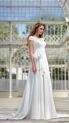victoria f 2016 bridal cap sleeves scoop neckline modified a line wedding dress with sash belt