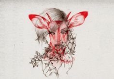 Peony Yip, aka The White Deer, is an illustrator currently living and working in Hong Kong. Her minimalist portraits of young women, rendered in penci. Art And Illustration, Graphic Design Illustration, Graphic Art, A Level Art, Animal Projects, Animal Sketches, Peonies, Illustrators, Moose Art