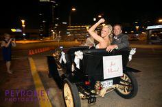 Ashton Depot, Fort Worth - Reception #FortWorthWeddings #Reception #Getaway #JustMarried #GetawayCar #Bride #Groom #vintage #Classic