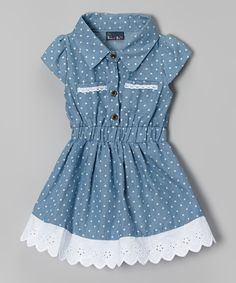 Look at this Sweet & Soft Light Blue Denim Polka Dot Dress - Infant & Toddler by Sweet & Soft Frocks For Girls, Kids Frocks, Baby Girl Fashion, Fashion Kids, Toddler Dress, Infant Toddler, Dress Anak, Baby Dress Patterns, Frock Design
