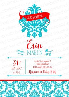 233ba3b4945c Damask Banner Baby Shower invitation in red blue by Kimbellished  Personalized Baby Gifts