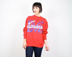 Vintage Molson Canadian Sweatshirt Red White Blue Sweater Pullover Jumper BEER Novelty T Shirt 1980s 80s Screen Print Sweatshirt L Large XL