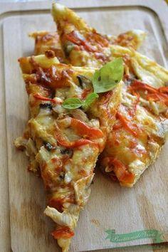 pizza-cu-pui-si-ciuperci-1 Stromboli, Calzone, Pizza Recipes, Cooking Recipes, Deep Dish, Hawaiian Pizza, Bacon, Good Food, Food And Drink