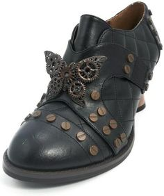 583a64a4b Hades Shoes - Black Icon Steampunk Shoes - Egg n Chips London Oxford Shoes  Heels