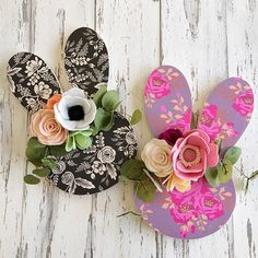 """I've got a serious case of spring fever and I can't stop! Soooo...13"""" felt flower wooden floral Easter bunnies are making their debut in this Saturday's restock too! These were SO much fun to create with #riflepaper and hand cut felt flowers! They're perfect for hanging on your front door for Easter, in a nursery or in a girl's bedroom! (Etsy restock Saturday 10am CT)  .  .  .  #easterbunny #easter #bunny #nurserydecor #nursery #felt #girlsbedroomdecor #flowers   #feltflorist #felt... Front Door Canopy, Spring Fever, Felt Flowers, Flower Crafts, Rosettes, Flower Decorations, Easter Bunny, Nursery Decor, Bunnies"""
