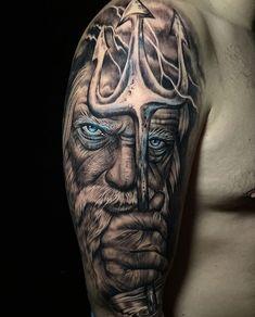 "Miguel correoso on Instagram: ""Trabajo de hoy (Poseidón)gracias por la confianza EDU #tattoo #tattooartist #artist #artista #ink #inker #inktober2019 #oldschooltattoo…"" Poseidon Tattoo, Sleeve Tattoos, Portrait, Instagram, Ideas, Confidence, Thanks, Artists, Tattoo Sleeves"