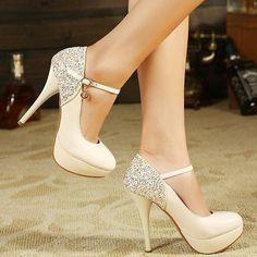 Tall white strap heels