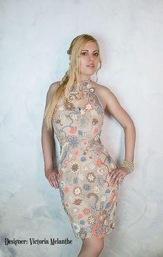 Irish lace crochet dress, haute couture dress, irish lace, irish lace dress, crochet dress, vintage dress, elegant dress, sexy dress, lacy dress, cocktail dress, multicolor dress, buy crochet dress, crochet dress beige, exclusive handmade dress, elegant dress crochet, lacy dress vintage, colorful dress crochet, knitted dress, royal dress, evening gown, beautiful dress, designer dress, crocheted mini dress Crochet Evening Dresses, Crochet Wedding Dresses, Crochet Lace Dress, Knit Dress, Elegant Dresses, Vintage Dresses, Beautiful Dresses, Cocktail Party Outfit, Elegant Cocktail Dress