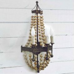 Regina Andrew Lighting Wood Bead Sconce. #laylagrayce #reginaandrew