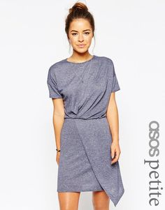 ASOS Petite | ASOS PETITE T-Shirt Dress With Drape Front at ASOS