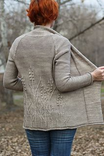 Winter Weeds Cardigan -  $7.00 USD   The body and sleeves of Winter Weeds cardigan are knitted from the bottom up and joined at the underarms to work a traditional raglan yoke.