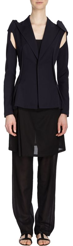 Yohji Yamamoto Gabardine Convertible-Sleeve Jacket Sale up to 70% off at Barneyswarehouse.com
