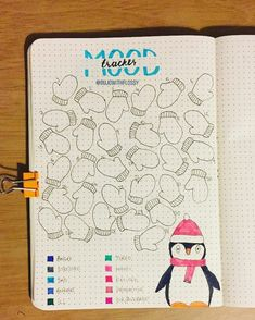 with a gah. Bullet journal BuJo Mood tracker idea for January with mittens and penguin, winter theme galinda. with a gah. Bullet journal BuJo Mood tracker idea for January with mittens and penguin, winter theme Bullet Journal Tracker, Bullet Journal Disney, Bullet Journal Spreads, Bullet Journal Headers, December Bullet Journal, Bullet Journal Quotes, Bullet Journal Notebook, Bullet Journal Ideas Pages, Bullet Journal Layout