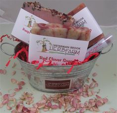"""We call this our """"Love in Bubbles"""" Gift Set. From Peterman Brook Herb Farm. (IBN Member since March Beauty Network, Herb Farm, Soap Shop, Confectionery, Relax, Gift Baskets, Herbalism, Bubbles, Good Things"""