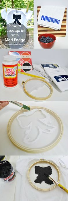 Screen printing is fun, but it can be expensive and uses toxic chemicals. This DIY screen printing with Mod Podge is easy, non-toxic and budget friendly! Mod Podge Crafts, Fun Crafts, Stencil Art, Stencils, Diy Spring, Screen Printing Shirts, Diy Shirt Printing, Printed Shirts, Fabric Painting