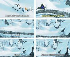 "Kristoff: ""Stay out of sight Olaf!"" Olaf: ""I will!"" *half a second later* Olaf: ""Hello! Disney Girls, Disney Love, Disney Magic, Disney Frozen, Frozen 2013, Frozen Frozen, Frozen Heart, Disney Stuff, Disney Princess"