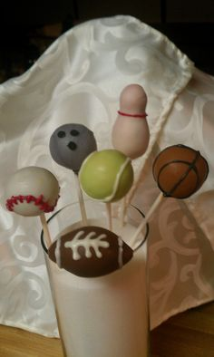 Sports theme cake pops for my great nephews birthday party