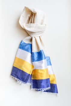 Hand-made in Ethiopia: Azola presents The Nicola Scarf in Ocean Blue  Hand-made by artisanal weavers in Ethiopia using the finest cotton, silk and