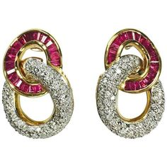 Ruby and Diamond Yellow Gold Door Knocker Style Earrings Latest Jewellery Trends, Jewelry Trends, Gold Door, Earring Trends, Gold Drop Earrings, Summer Jewelry, Black Diamond, Antique Gold, 18k Gold