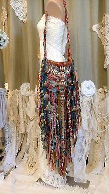 8c3968dc38bd3 Handmade Fringe Fabric Bag Embroidery Leather Vintage Lace Boho Purse  tmyers Bohemian Style Jewelry